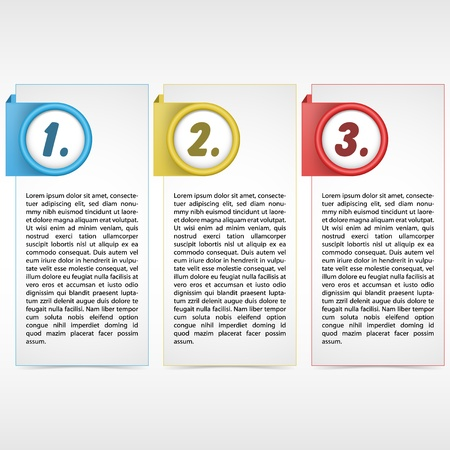Vector illustration of three color card with place for customer text  Sample text and background are in separate layers illustration