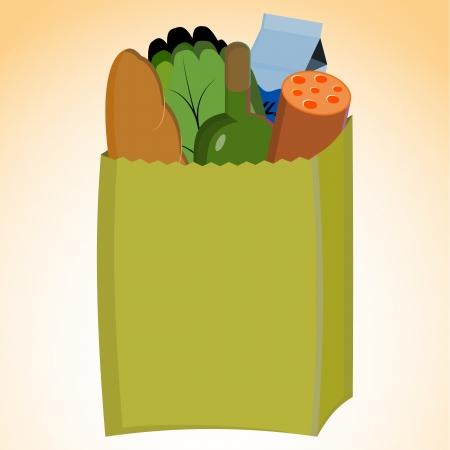 Vector illustration of grocery bag illustration
