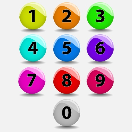 illustration of colored buttons with number  Shadows bellow objects Stock Illustration - 14751822