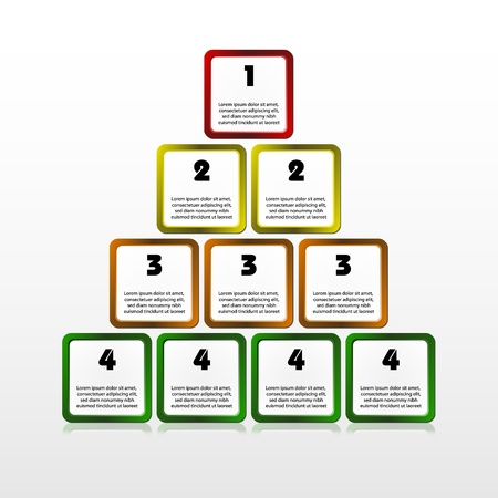 illustration of square progress pyramid  Layered document  Stock Photo