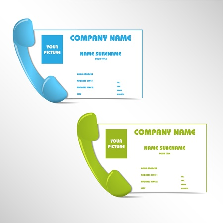 flexible business: Set of business cards with telephone - illustration Stock Photo