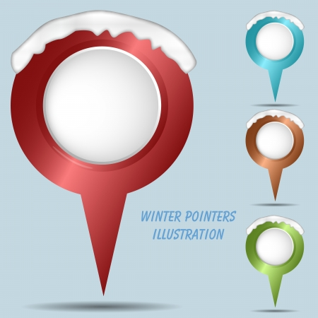 illustration of winter pointers with snow illustration