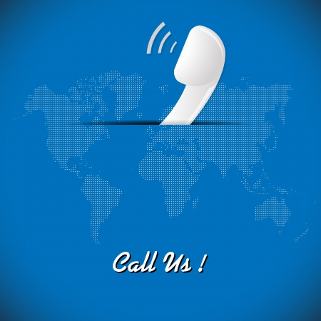 Illustration of telephone on blue background with dotted world map  illustration