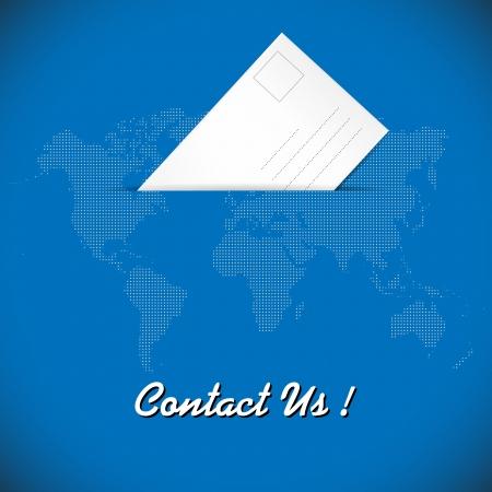 Illustration of envelope on blue background with dotted world map  illustration