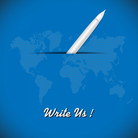 Illustration of pen on blue background with dotted world map  illustration