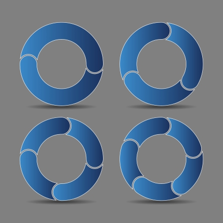 Vector illustration of four abstract arrows in blue tone Stock Photo
