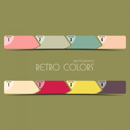 Vector illustration of linear progress bar in retro colors  Place for customer text  illustration