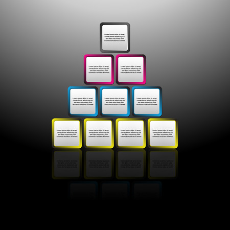 illustration of square pyramid diagram,  Place for customer text or description illustration