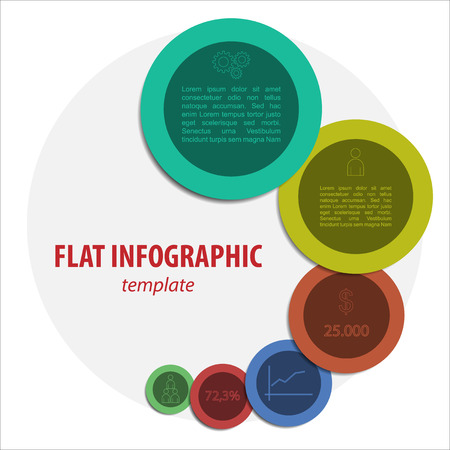 Vector illustration of modern flat colorful infographic with symbols  illustration