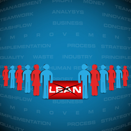 Vector illustration of background with people manifested against lean strategy  Lean is modern strategy of companies about higher productivity  illustration