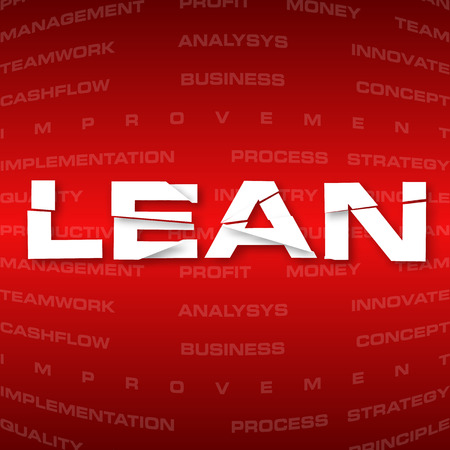 Vector illustration of abstract background with heading Lean  Lean is modern strategy of companies about higher productivity  illustration