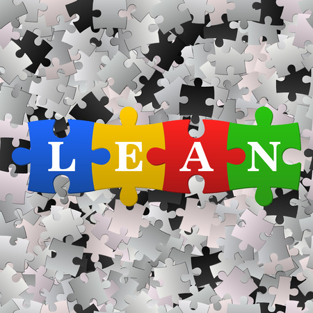 lean: Vector illustration of the blue puzzles with word lean. Lean is modern starategy of improvement productivity. Stock Photo