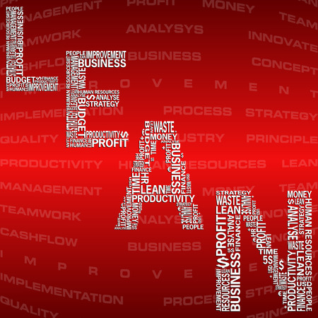 lean: illustration of abstract background with heading Lean. Lean is modern strategy of companies about higher productivity. Stock Photo