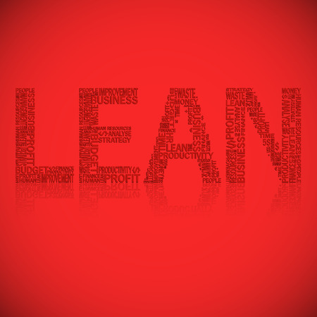 lean: Vector illustration of abstract background with heading Lean. Lean is modern strategy of companies about higher productivity.