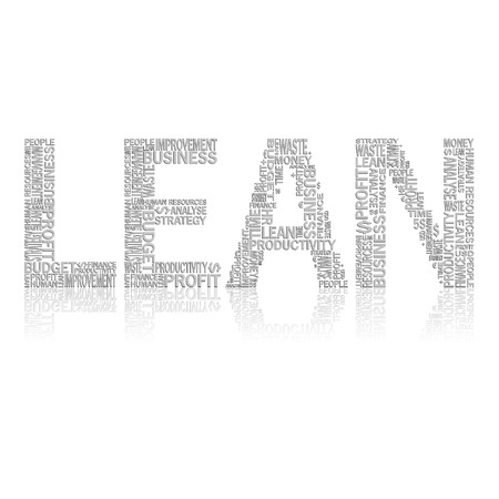 heading: Vector illustration of abstract background with heading Lean. Lean is modern strategy of companies about higher productivity.