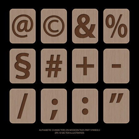 alphabetic: Vector illustration of alphabetic characters on wooden tiles.