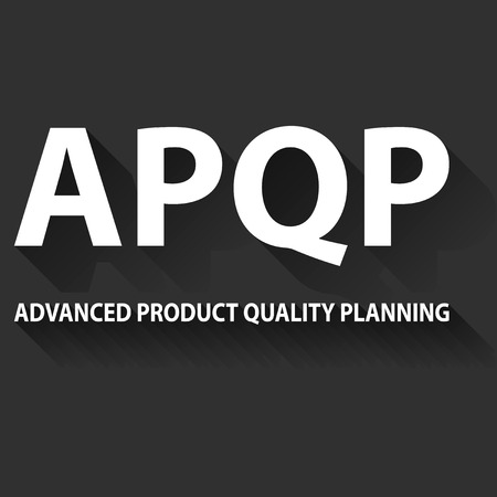 product design specification: Vector illustration of APQP framework. APQP is set of procedures and techniques used to develop products especially in the industrial sector and manufacturing Stock Photo