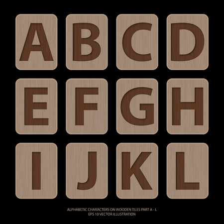 Vector illustration of alphabetic characters on wooden tiles.