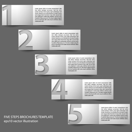 gradual: paper progress brochures in five steps. Template with place for description on right side