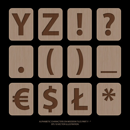 alphabetic: illustration of alphabetic characters on wooden tiles. Illustration