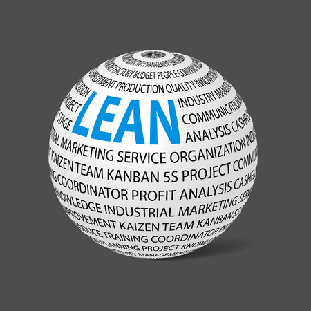 lean: Ball with word Lean. Ball filled by other words related with lean concept.  Lean is modern program of productivity. Vector illustration