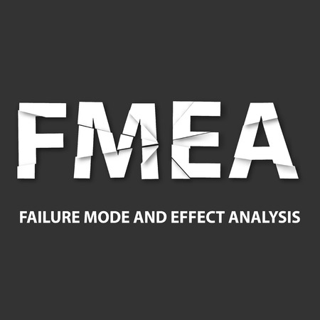 product design specification: Vector illustration of background FMEA. FMEA is an analytical technique, which aims to identify potential sites of defects or faults in systems