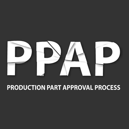 intended: Vector illustration of PPAP method. PPAP is a method for setting up the approval process of the parts intended for the production
