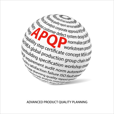 product design specification: Advanced product quality planning word ball. White ball with main title APQP and filled by other words related with APQP method. Vector illustration