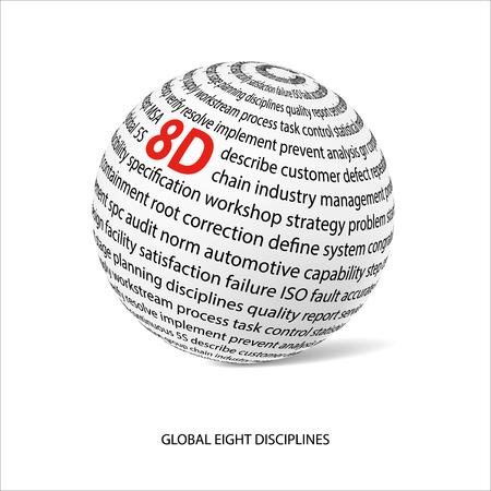 グローバル 8 つの規律の単語のボール。メインの白いボールは 8 D をタイトルし、8 D 方法に関する他の言葉でいっぱい。ベクトル図  イラスト・ベクター素材