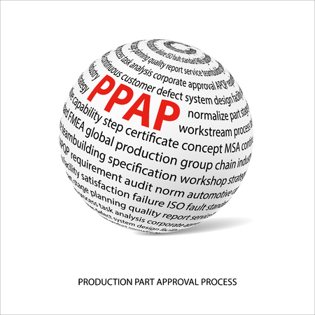 product design specification: Production part approval process word ball. White ball with main title PPAP and filled by other words related with PPAP method. Vector illustration
