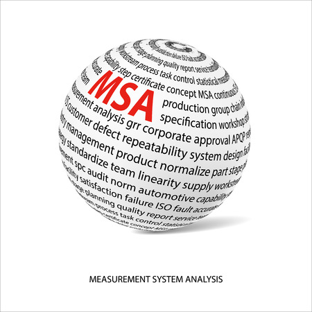 metrology: Measurement system analysis word ball. White ball with main title MSA and filled by other words related with MSA method. Vector illustration Illustration