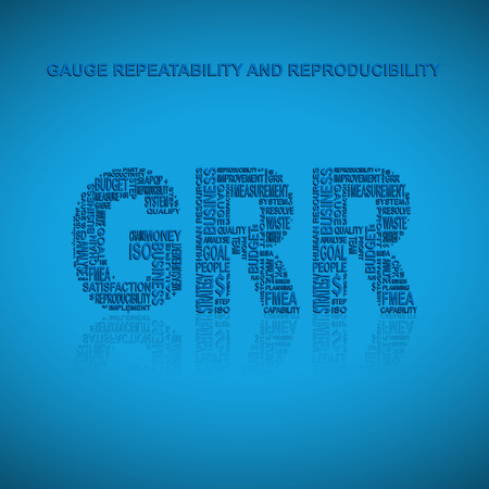 linearity: Gauge repeatability and reproducibility typography background. Blue background with main title GRR filled by other words related with gauge repeatability and reproducibility method. Vector illustration