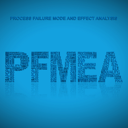 product design specification: Process failure mode and effect analysis  typography background. Blue background with main title PFMEA filled by other words related with process failure mode and effect analysis  method. Vector illustration Illustration