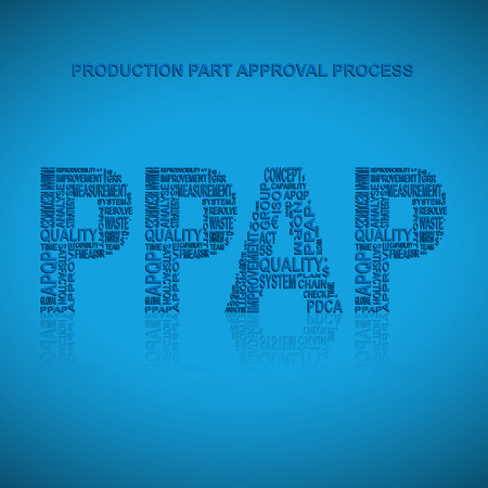 product design specification: Production part approval process typography background. Blue background with main title PPAP filled by other words related with production part approval process  method. Vector illustration