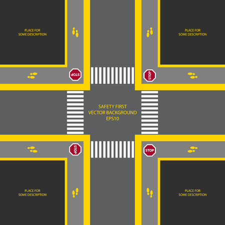 symbol traffic: Vector illustration of crossroad with traffic sign stop. Crosswalk and foot signs included. Place for some description. Dark interface. Top view.