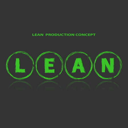 Lean manufacturing method background. Title Lean inside green abstract circles. Dark background. Reflection under title. Lean is modern program of productivity. Vector illustration Illustration