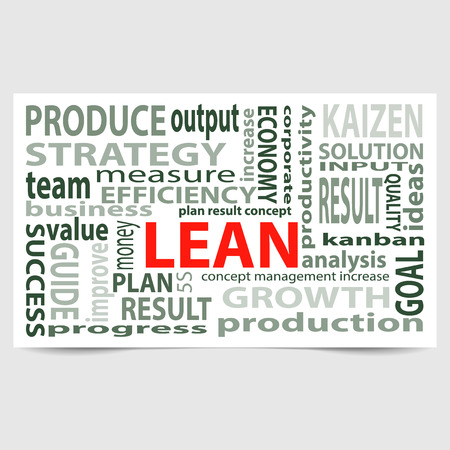 kaizen: Lean manufacturing word card. Card with main title LEAN and filled by other words related with Lean strategy. Vector illustration Illustration