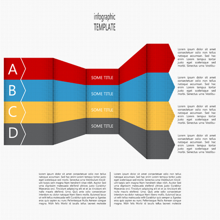 succession: Four steps timeline perspective diagram. Four folded arrows in four colors. Place for text within shape and outside of shape. Vector illustration. Illustration