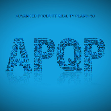 product design specification: Advanced product quality planning typography background. Blue background with main title APQP filled by other words related with advanced product quality planning method. Vector illustration Illustration
