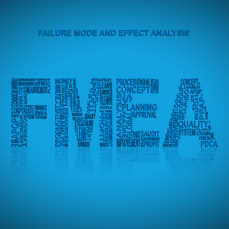 product design specification: Failure mode and effect analysis  typography background. Blue background with main title FMEA filled by other words related with failure mode and effect analysis  method. Vector illustration