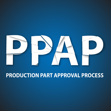 product design specification: Vector illustration of PPAP method. PPAP is a method for setting up the approval process of the parts intended for the production