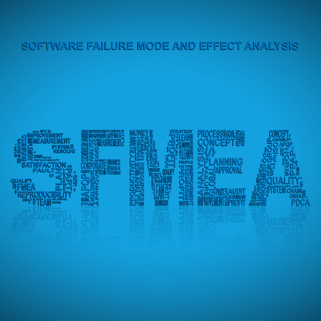 product design specification: Software failure mode and effect analysis  typography background. Blue background with main title SFMEA filled by other words related with software failure mode and effect analysis  method. Vector illustration
