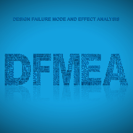 product design specification: Design failure mode and effect analysis  typography background. Blue background with main title DFMEA filled by other words related with design failure mode and effect analysis  method. Vector illustration