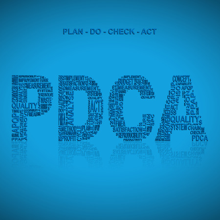 plan do check act: Plan do check act  typography background. Blue background with main title PDCA filled by other words related with plan do check act  method. Vector illustration
