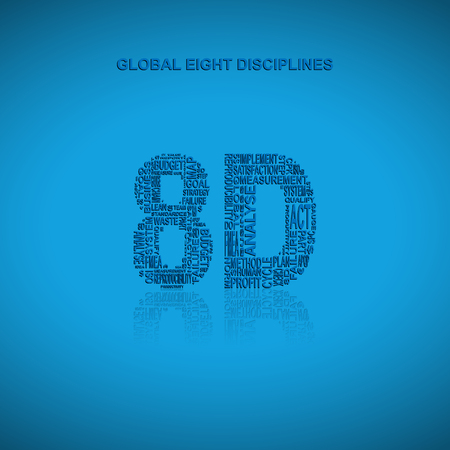 containment: Global eight disciplines typography background.