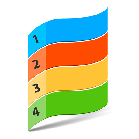 succession: Four steps timeline objects. Wavy flag shape with numbers. Place for customer text. Illustration