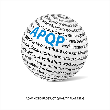 Advanced product quality planning word ball. White ball with main title APQP and filled by other words related with APQP method. Ilustração