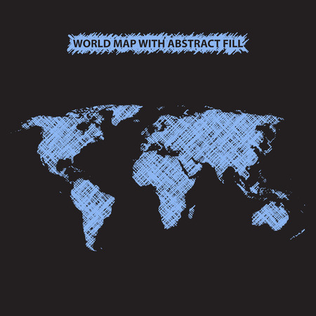 hatched: Abstract world map background. World map hatched by lines. Dark background. Bright blue fill Illustration