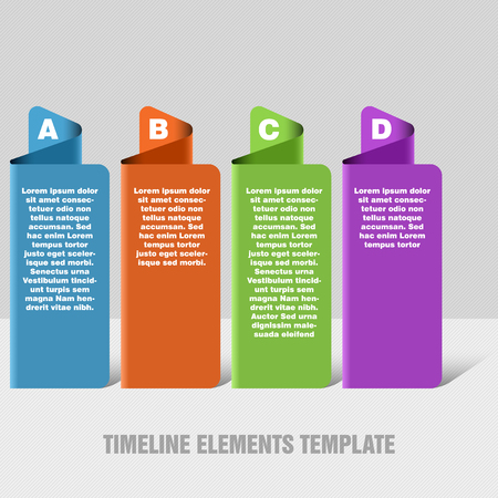 gradual: Four steps timeline objects. Abstract folded shape with shadows. Place for text inside shape. Illustration