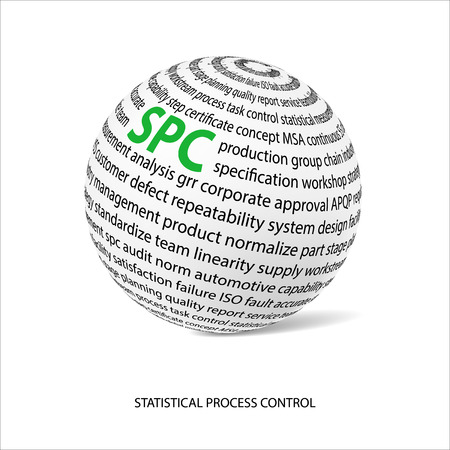metrology: Statistical process control word ball. White ball with main title SPC and filled by other words related with SPC method.